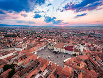 Sunset in Sibiu Transylvania Romania Royalty Free Stock Image