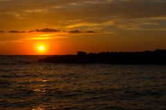 Sunset on Sicily. Sunset seen in Cornino, Trapani, Sicily, Italy royalty free stock image