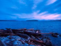 Sunset at the Sidney shore. BC, Vancouver Island, Canada Stock Photo
