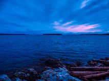 Sunset at the Sidney shore. BC, Vancouver Island, Canada Royalty Free Stock Photos