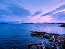 Sunset at the Sidney shore. BC, Vancouver Island, Canada Stock Photos