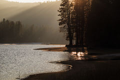 Sunset at a Sierra Nevada mountain lake Royalty Free Stock Images
