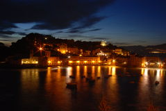 Sunset in silent bay. After sunset in Silentbay in Sestri Levante Royalty Free Stock Image