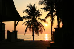 Sunset Silhouette. Foreground of shops and coconut trees with a view of sunset in the background Royalty Free Stock Photos