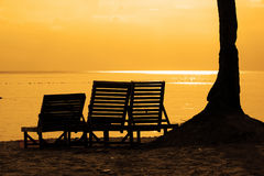 Sunset Silhouette. With chairs Royalty Free Stock Photography