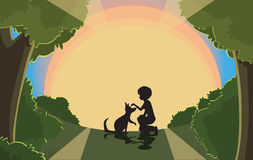Sunset silhouette. Image of boy playing with his dog, No gradients, little use of transparency Stock Photo