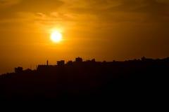 Sunset. Silhouette in Amman Jordan Stock Image