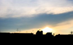 Sunset silhouette. With cloudy in urban Stock Photo