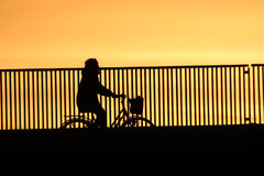 Sunset silhouette of cyclist Royalty Free Stock Images