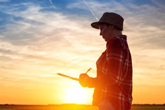 Sunset silhouette of female farmer writing notes in field Stock Images