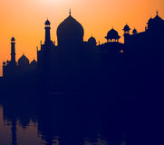 Sunset Silhouette Grand Taj Mahal Tourist Attraction Concept Stock Photos