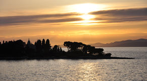 Sunset with silhouette of an island. Sunset at Adria, with silhouette of the island Brac royalty free stock photos