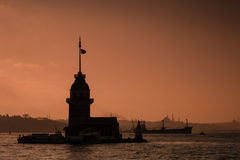 Sunset Silhouette of Maiden's Tower in Istanbul, Turkey Stock Photos