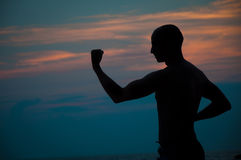 Sunset silhouette of  man practicing martial arts Royalty Free Stock Photos