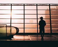 Sunset silhouette man royalty free stock photo