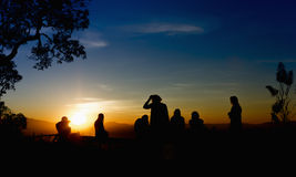 Sunset silhouette  people Royalty Free Stock Photography