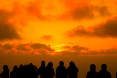 Sunset silhouette. Of people watchings Royalty Free Stock Photography