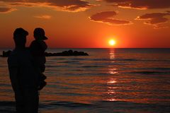 Sunset silhouette durres Albania royalty free stock image
