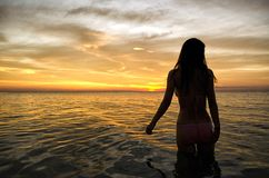 Sunset Silhouette in the Sea. Woman watching the sun set over the sea from the water Stock Images