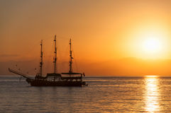 Sunset Silhouette Ship Royalty Free Stock Photo