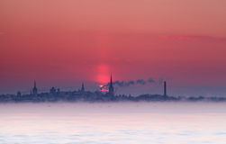 Sunset silhouette of Tallinn. Estonia Stock Photos