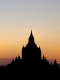 Sunset with silhouette temple in Bagan Royalty Free Stock Photography