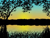 Sunset silhouette water tree Royalty Free Stock Photos
