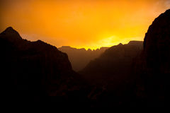 Sunset Silhouette. Silhouette of Zion National Park Canyon at Sunset Stock Photo