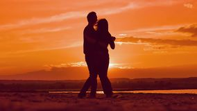At sunset silhouettes of dancing girls and a guy slow motion video stock footage