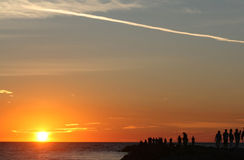 Sunset and silhouettes. Fishing in Venice, on the west coast of Florida Stock Photos