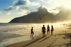 Sunset Silhouettes Playing Altinho Futebol Beach Football Brazil Royalty Free Stock Images
