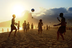 Sunset Silhouettes Playing Altinho Futebol Beach Football Brazil Royalty Free Stock Photos