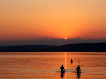 Sunset silhoulette. Sunset on the Balaton in Hungary Stock Images