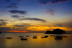 Sunset and silhoutte. In pangkor island Royalty Free Stock Image