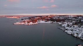 Sunset in Sillvik in Sweden. Drone footage stock video footage