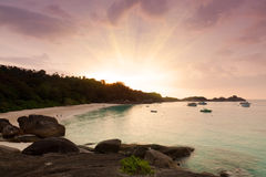 Sunset on Similanovy islands Royalty Free Stock Photo