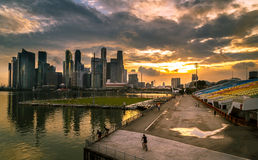 Sunset In Singapore City Royalty Free Stock Photography
