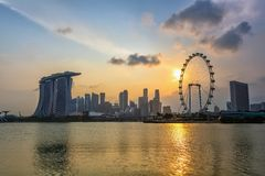 sunset Singapore cityscape Stock Images