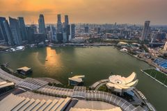 Sunset at Singapore City Royalty Free Stock Photography