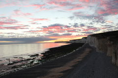 Sunset Sisters. Sunset @ Birling Gap, Nr Eastbourne, East Sussex royalty free stock photo