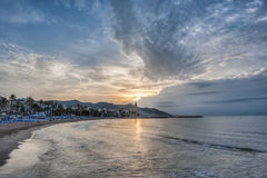 Sunset at Sitges, Spain Stock Photo