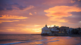 Sunset of sitges. The sunset of Sitges, in Spain Stock Images