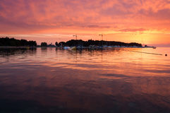 Sunset at Ski lift Porec, wakeboarding park Royalty Free Stock Image