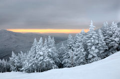Sunset in ski resort mountains Stowe, VT stock photography