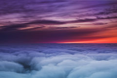 Sunset sky. Sunset flight above sky airplane wing, airplane trip royalty free stock image