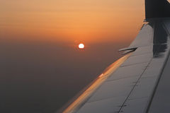 Sunset from the sky. Just before landing Royalty Free Stock Photography