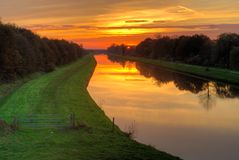Sunset sky above the canal Royalty Free Stock Photos