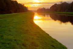 Sunset sky above the canal Royalty Free Stock Photo