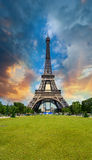 Sunset sky above Eiffel Tower - Paris. La Tour Eiffel from Champ royalty free stock photography