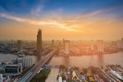 After sunset sky aerial view Bangkok city business downtown Thailand Stock Photos